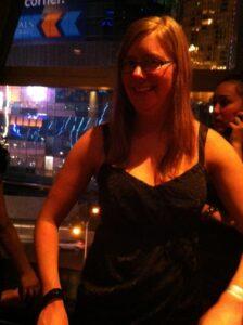Kim Wetter in a little black dress